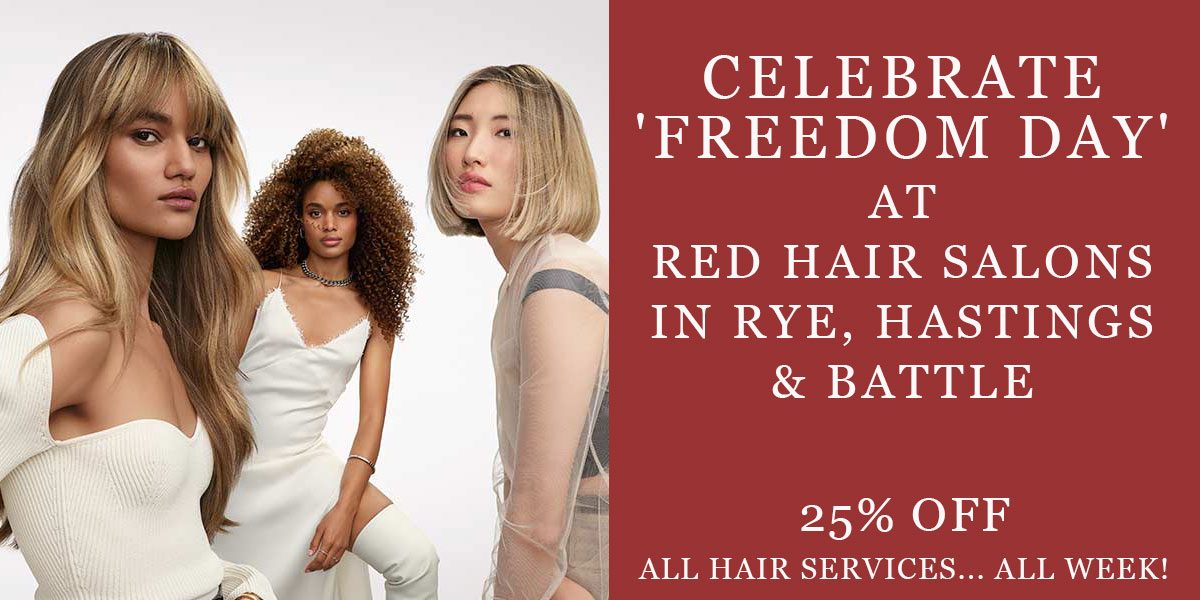 celebrate freedom day with hair offer at red hair salons in east sussex